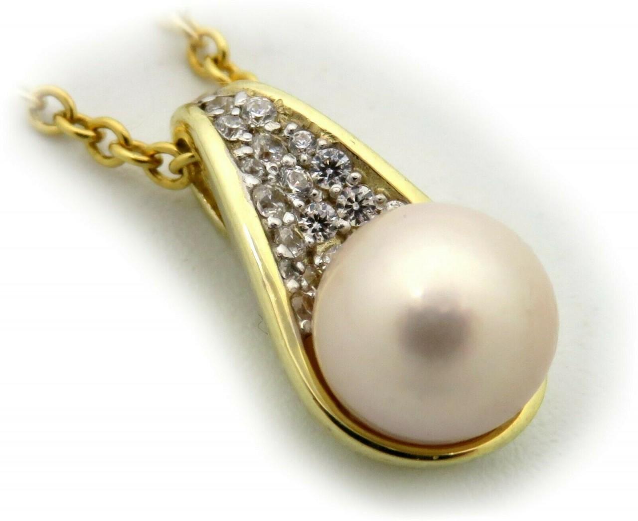 Neu Anhänger Tropfen Zirkonia echt Gold 333 Gelbgold 8 karat Perle 8 mm Qualität