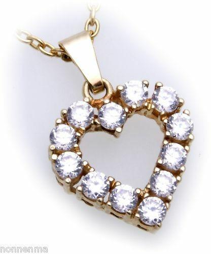 Anhänger Herz Gold 585 mit Zirkonia alle Steinarten Gelbgold Damen Neu