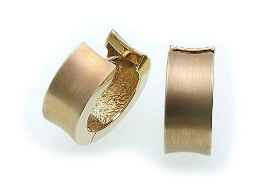 Damen Ohrringe Klapp Creolen Gold 375 gewölbt 15mm Gelbgold