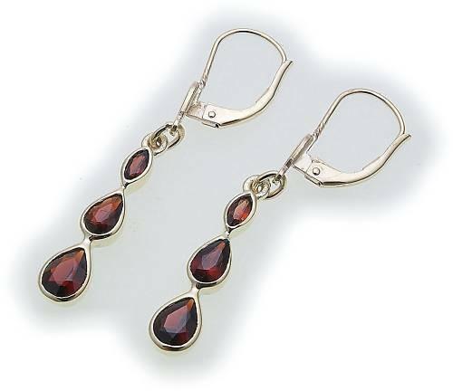 Damen Ohrringe m. Granat in Silber 925 Sterlingsilber Hänger Ohrhänger 6625/8GR