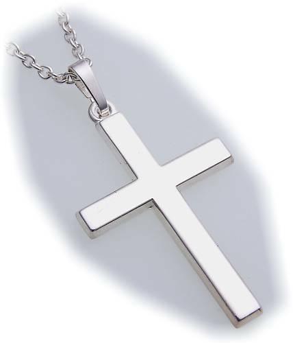 Anhänger Kreuz echt Silber 925 36 mm hochglanzpoliert Sterlingsilber Damen