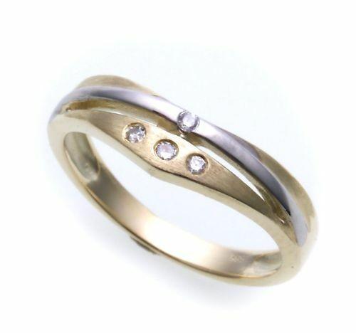 Damen Ring exklusiv echt Gold 585 Brillant 0,05 teilrh Gelbgold Qualität Diamant