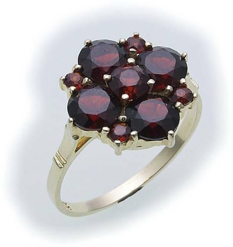 Damen Ring m. Granat in Gold 333 Granatring alle Weiten Gelbgold Qualität 8023/3