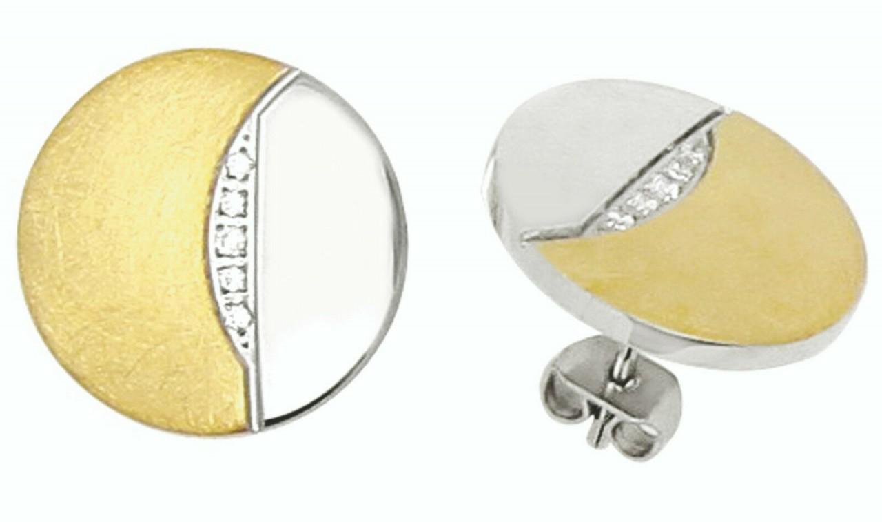 Ohrringe Stecker Edelstahl Zirkonia IPG Gold Ohrstecker Hardwear by Landmesser