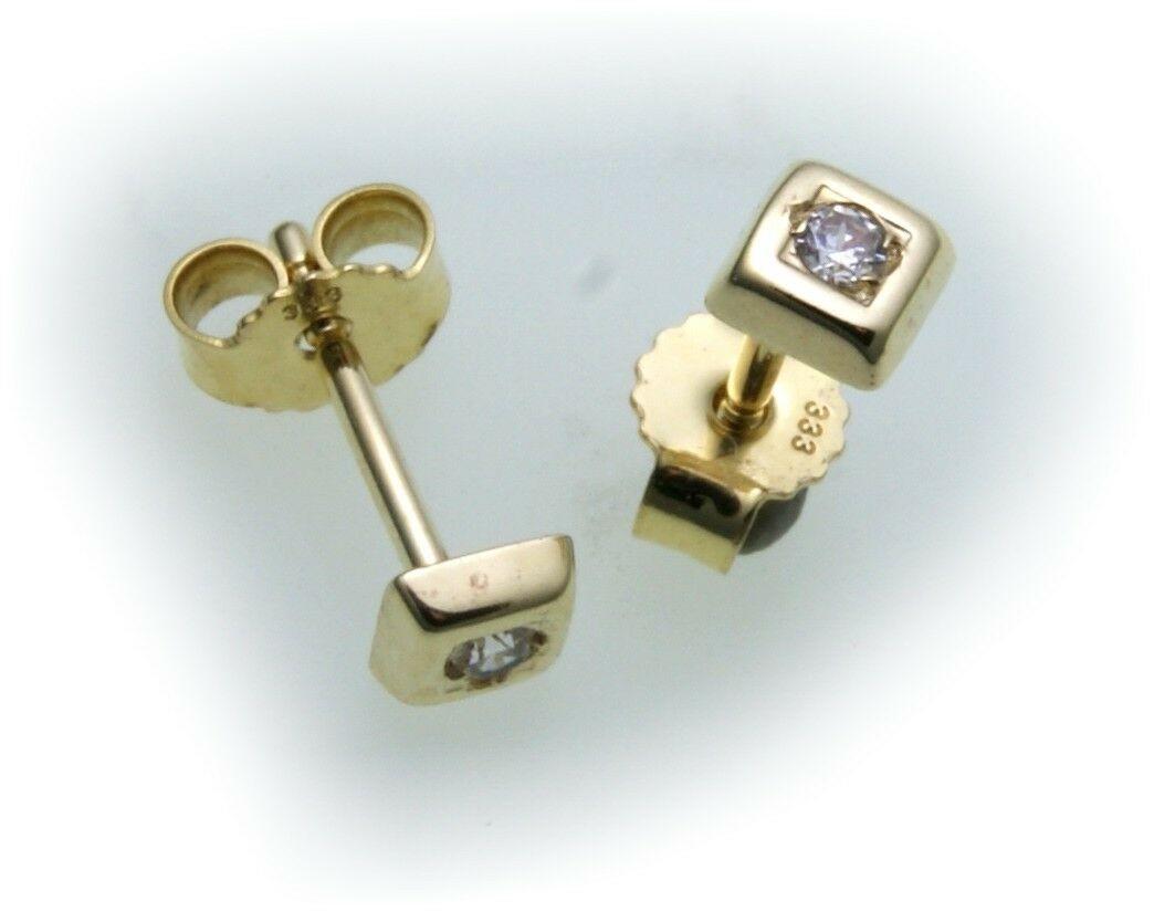Damen Ohrringe Stecker Zirkonia Quadrat echt Gold 333 Ohrstecker Gelbgold