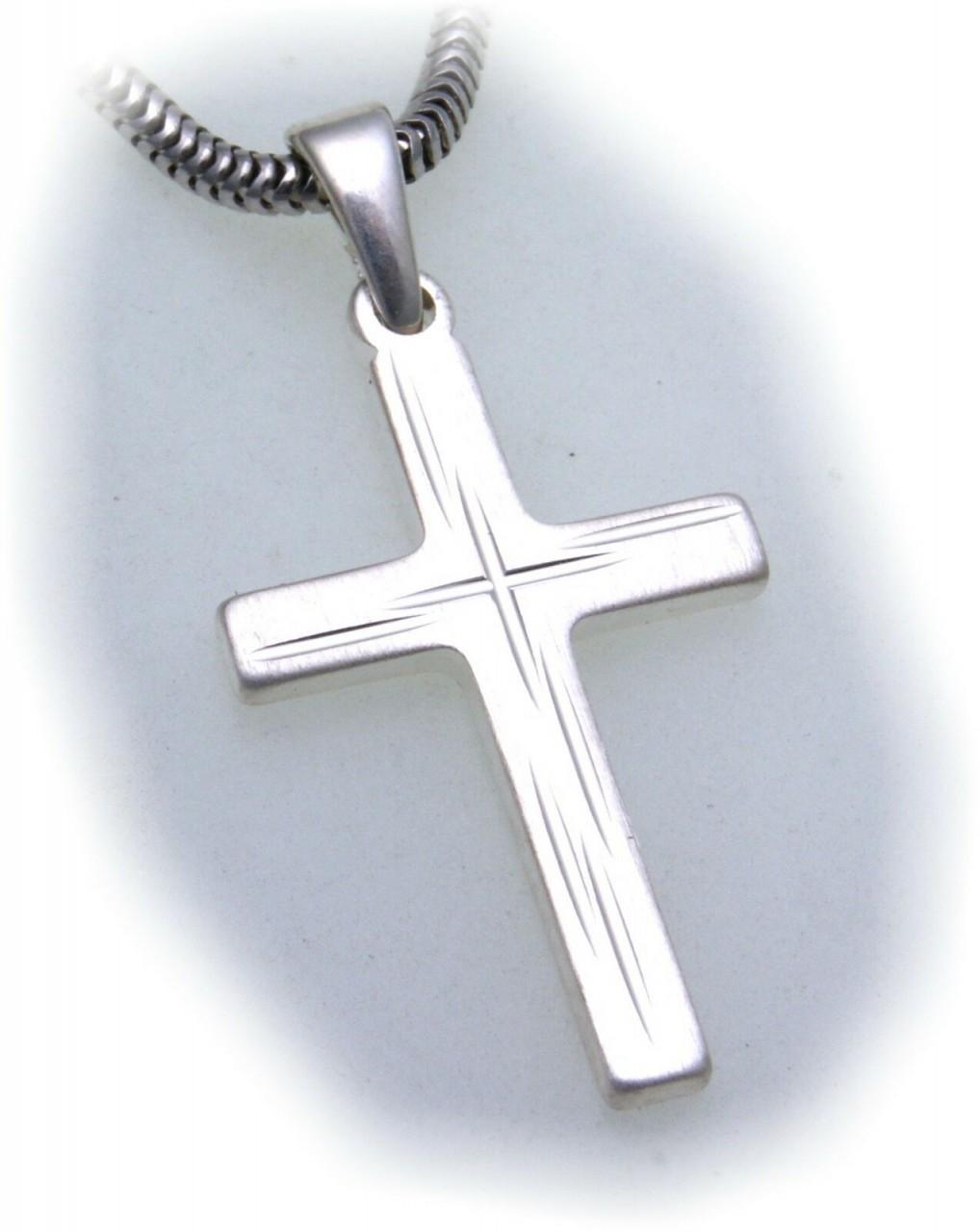 Anhänger Kreuz echt Silber 925 28 mm mattiert verziert Sterlingsilber Unisex