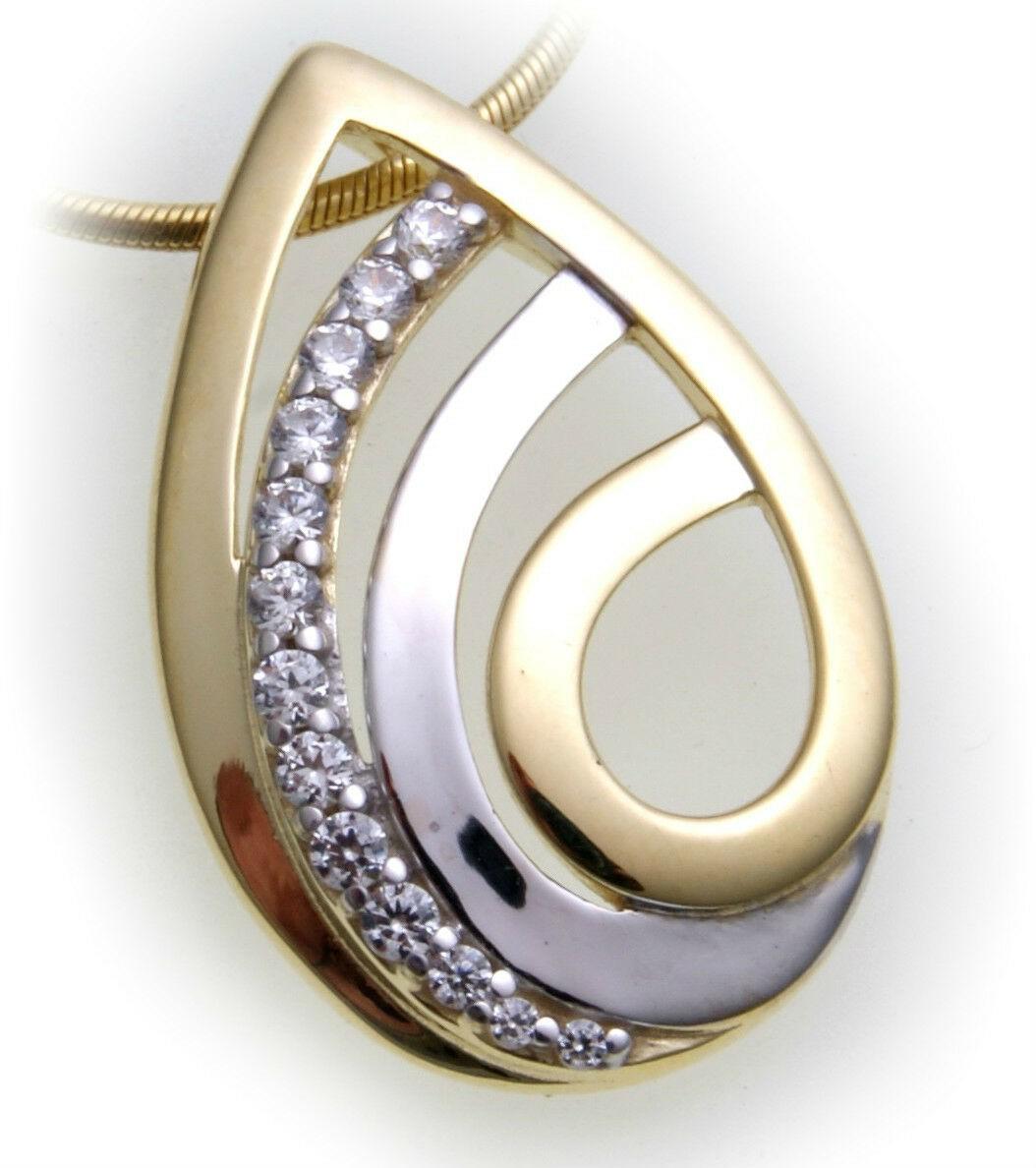 Anhänger Tropfen Zirkonia echt Gold 333 Gelbgold Unisex Damen Qualität Neu