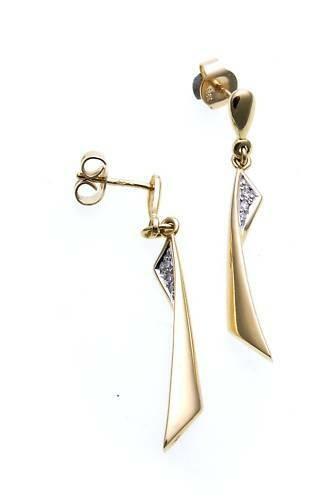 Damen Ohrringe Hänger Gold 585 Brillant 0,055ct Ohrhänger Gelbgold Diamanten