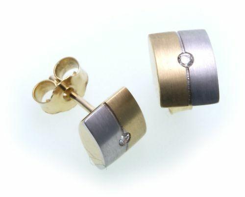 Damen Ohrringe Stecker Gold 585 Gelbgold Brillant 0,04 ct Diamant Ohrstecker