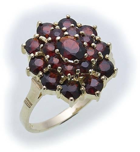 Damen Ring m. Granat in Gold 585 Gelbgold Granatring alle Weiten 8118/5GR