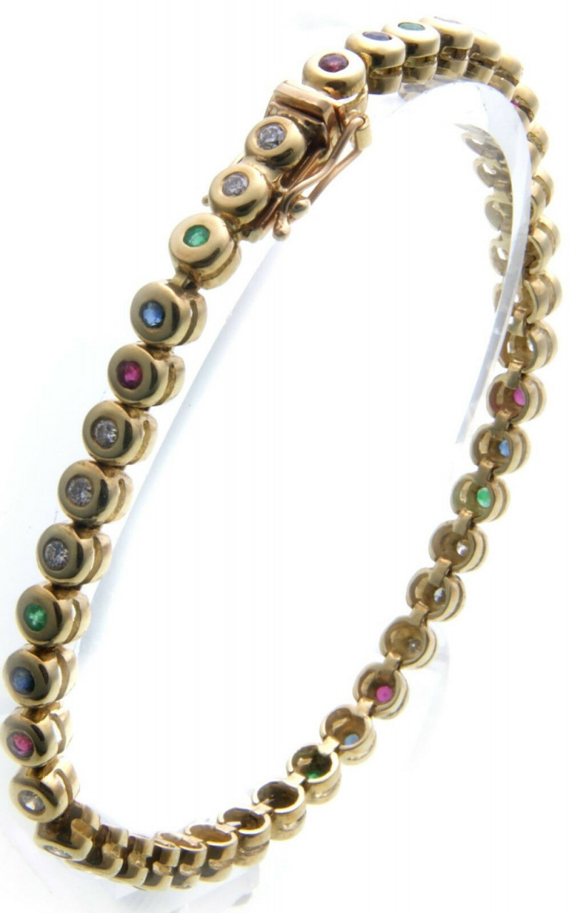 Armband Brillant 0,70 ct SI Gold 585 Rubin Saphir Smaragd 14kt Diamant Gelbgold