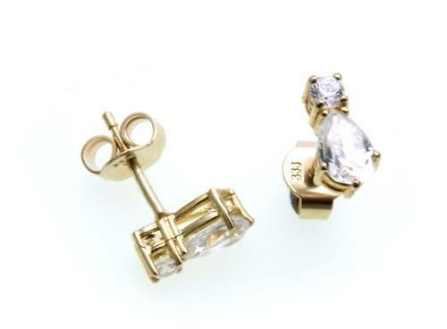 Damen Ohrringe Stecker Zirkonia echt Gold 333 Glanz Gelbgold Qualität Ohrstecker