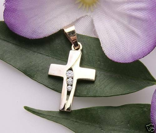 Anhänger Kreuz Gold 333 3 Zirkonia teilrhod. Qualität Gelbgold Damen