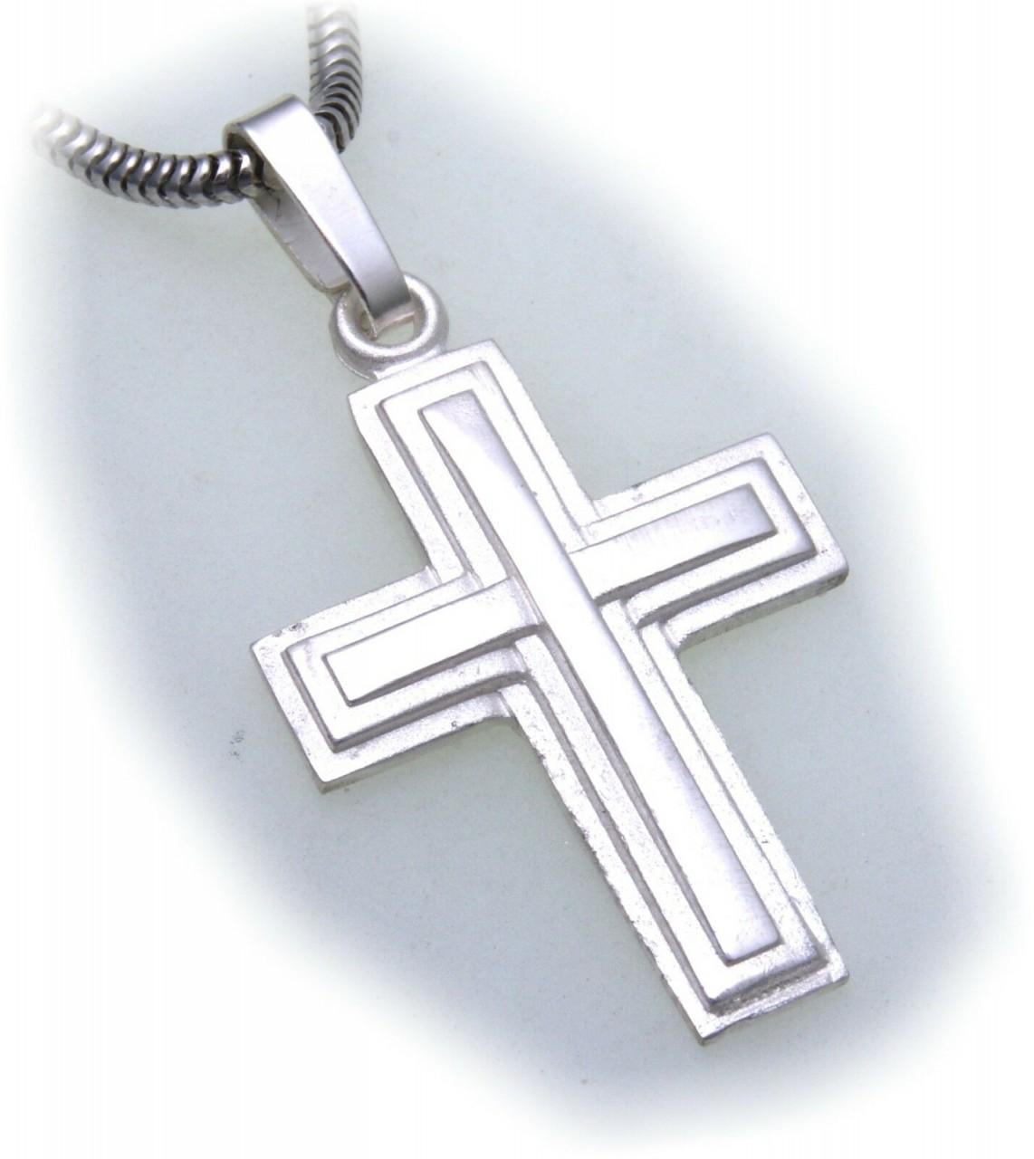 Anhänger Kreuz echt Silber 925 32 mm teilmattiert Qualität Sterlingsilber Unisex