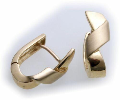 Ohrringe Creolen echt Gold 585 teilmatt massiv Gelbgold Damen massiv