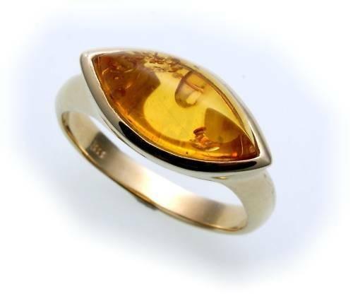 Damen Ring echter Bernstein aus de Ostsee echt Gold 333 Gelbgold 8k N8552 BE 3