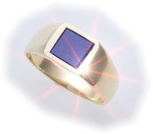 Herren Ring echt Gold 333 echt Lapis alle Steine mögl. Gelbgold Qualität