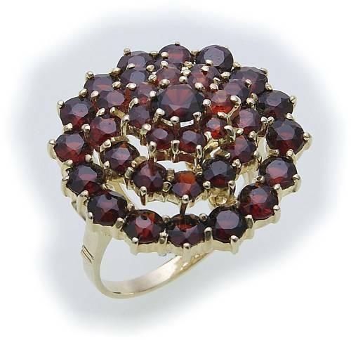 Damen Ring m. Granat in Gold 585 Granatring Gelbgold Qualität 8955/5GR