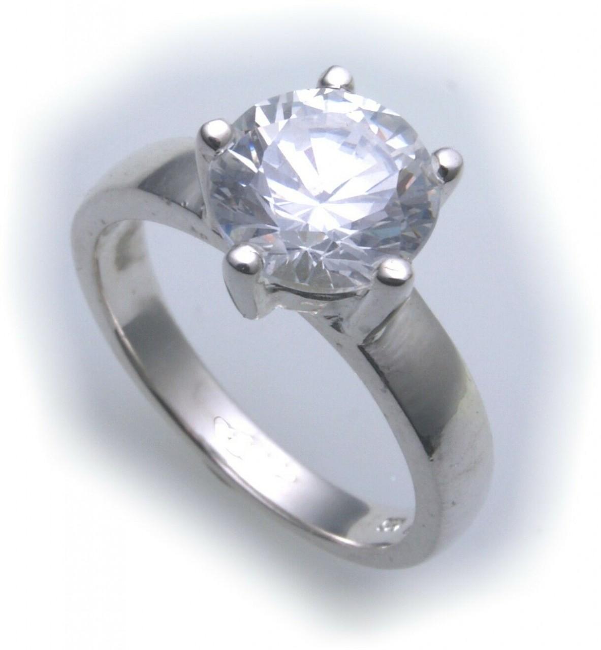 exkl. Damen Ring echt Silber 925 mit Zirkonia groß Stein Qualität Sterlingsilber