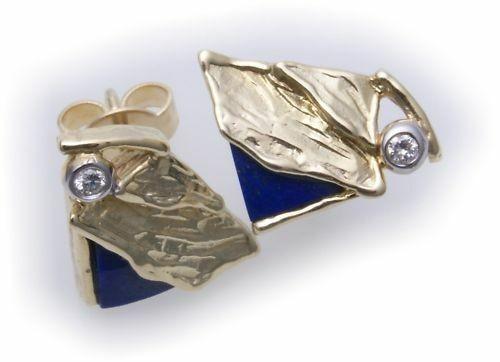 Damen Ohrringe Lapis Brillant 0,02ct echt Gold 333 Gelbgold Diamant Ohrstecker
