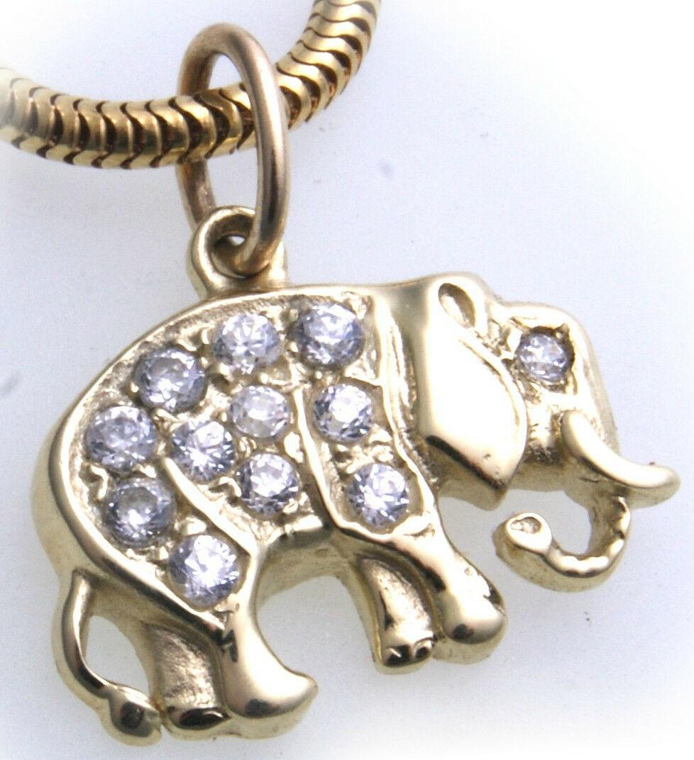Anhänger echt Gold 585 Elefant mit Zirkonia gefasst Gelbgold Unisex Qualität er-
