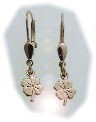 Kinder Ohrringe Ohrhänger Kleeblatt 585 Gold Glanz Gelbgold Qualität