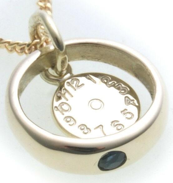 Taufring mit Uhr Saphir 333 8 karat Gold poliert Safir Taufkette Baby Taufe Neu