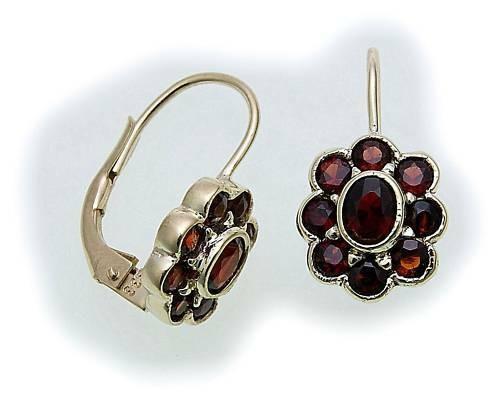 Damen Ohrringe m. Granat in Gold 585 Granatohrringe Gelbgold Bouton 6985/5GR