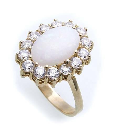 Damen Ring echt Opal 12 x 8 echt Gold 585 Zirkonia Gelbgold