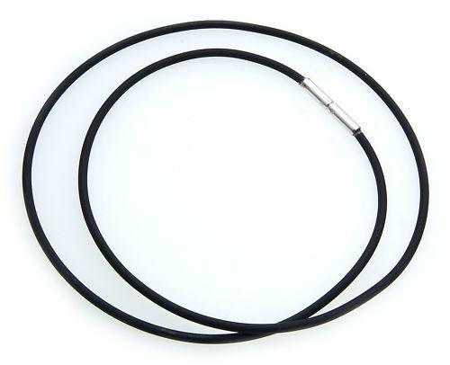 Halskette schwarzer Kautschuk 2 mm Sterlingsilber 925 40 bis 60 cm Bajonett Neu