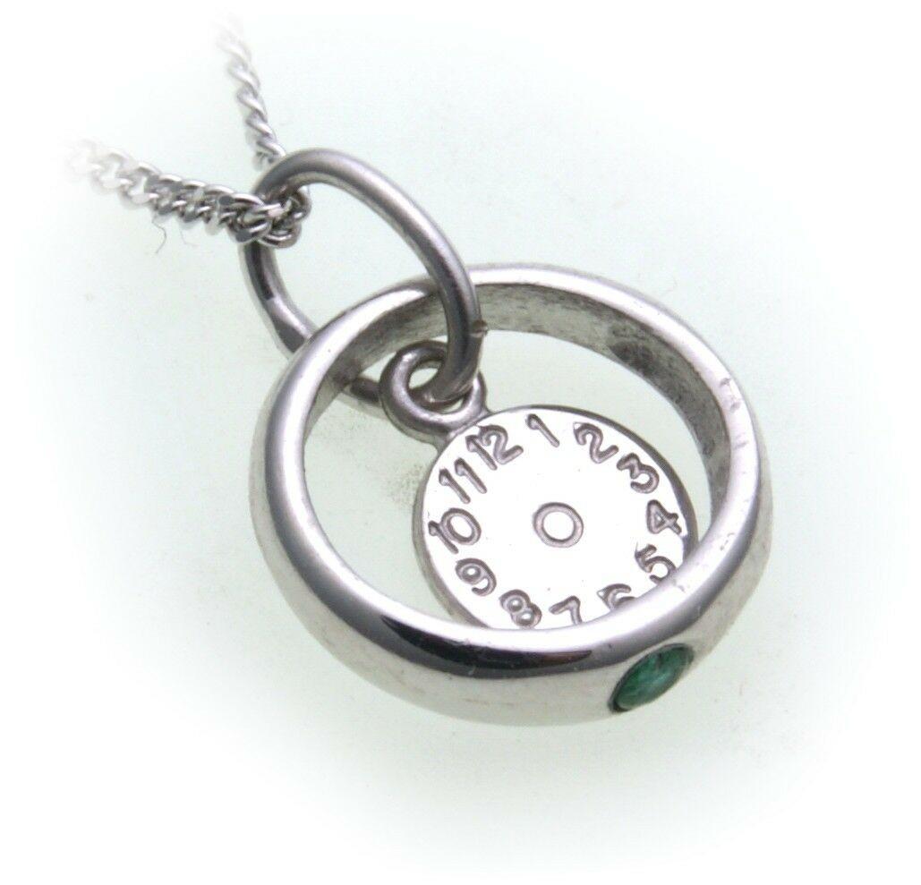 Taufring mit Uhr Smaragd 585 Weißgold ohne Kette 14kt Baby Taufe Qualität