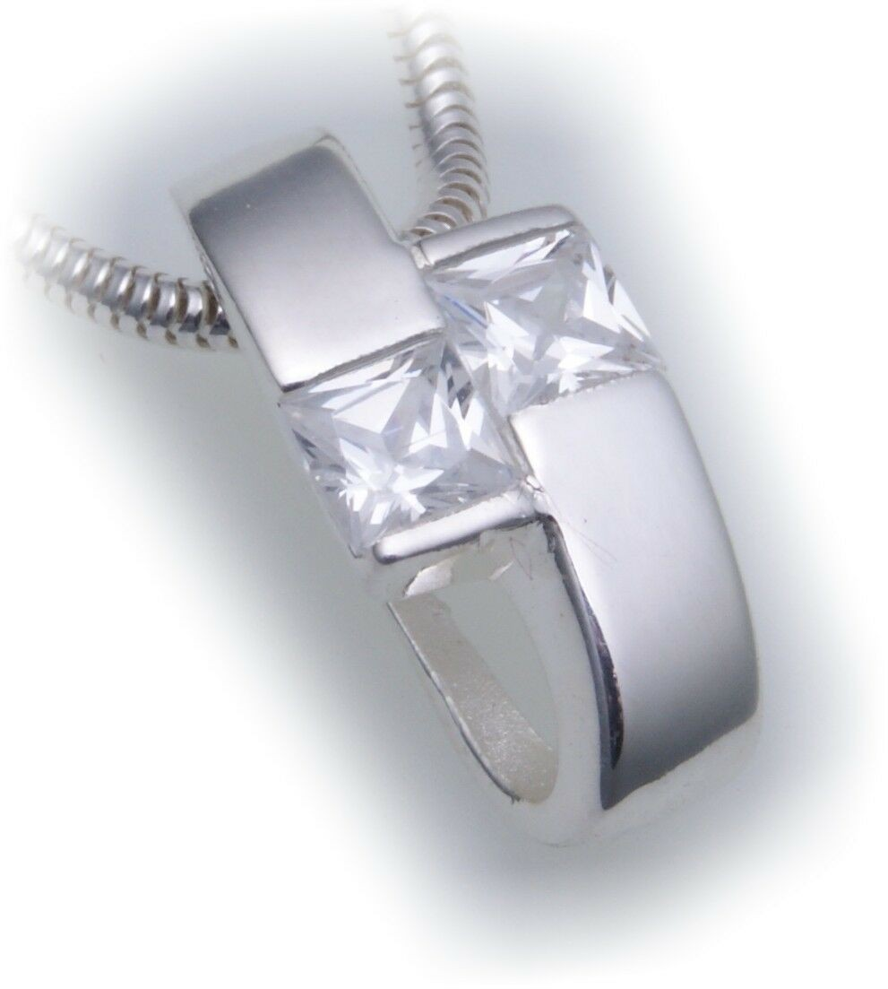 exkl. Anhänger echt Silber 925 mit Zirkonia Qualität Halsschmuck Sterlingsilber