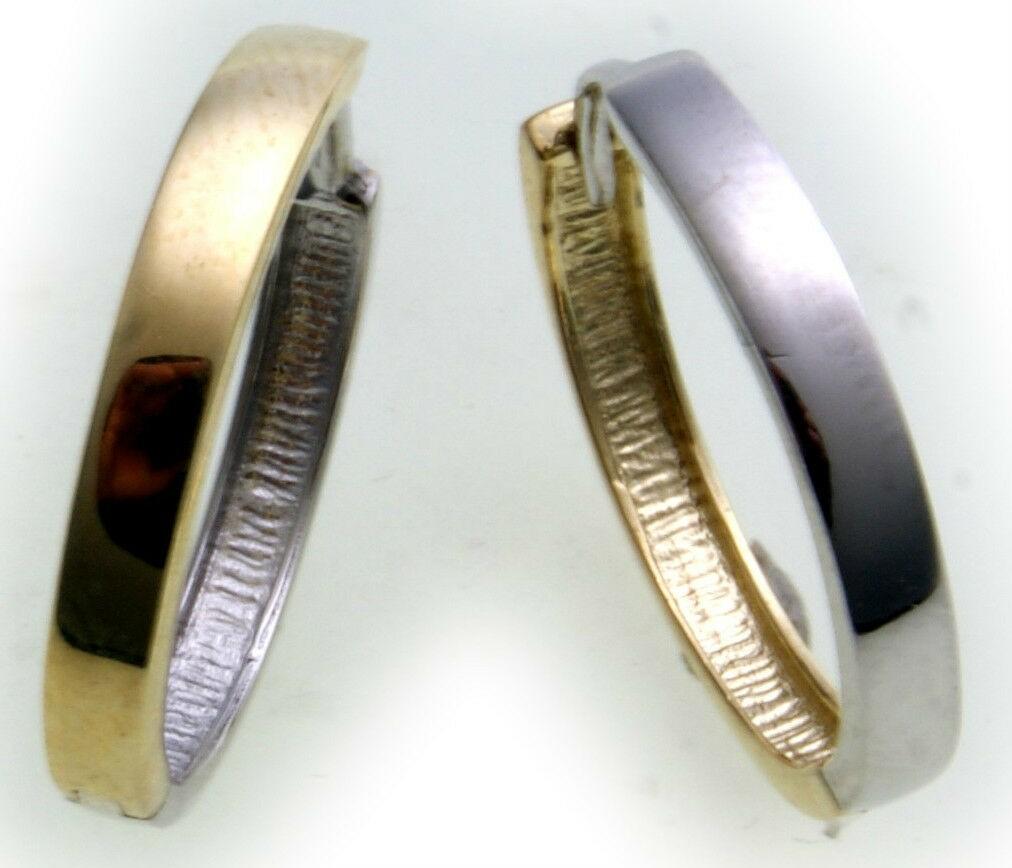 Ohrringe Klapp Creolen Gold 333 Bicolor Glanz eckig Gelb Weiß Unisex Neu 18 mm