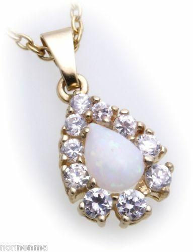 Anhänger Gold 585 14 karat echt Opal 7 x 5mm Tropfen 10 Zirkonia Gelbgold Damen