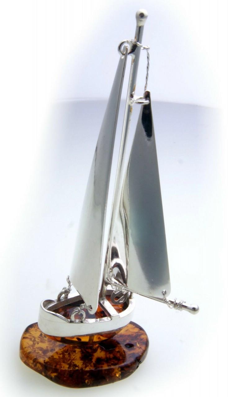 Schiff echt Bernstein Silber 925 Sterlingsilber Segelschiff Boot Handarbeit