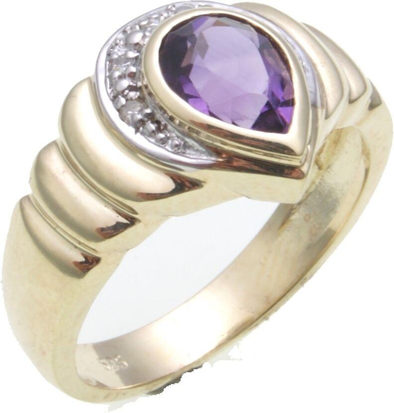 Damen Ring Brillant 0,08 ct. echt Amethyst 8 x 6 mm in Gold 585 Gelbgold Diamant