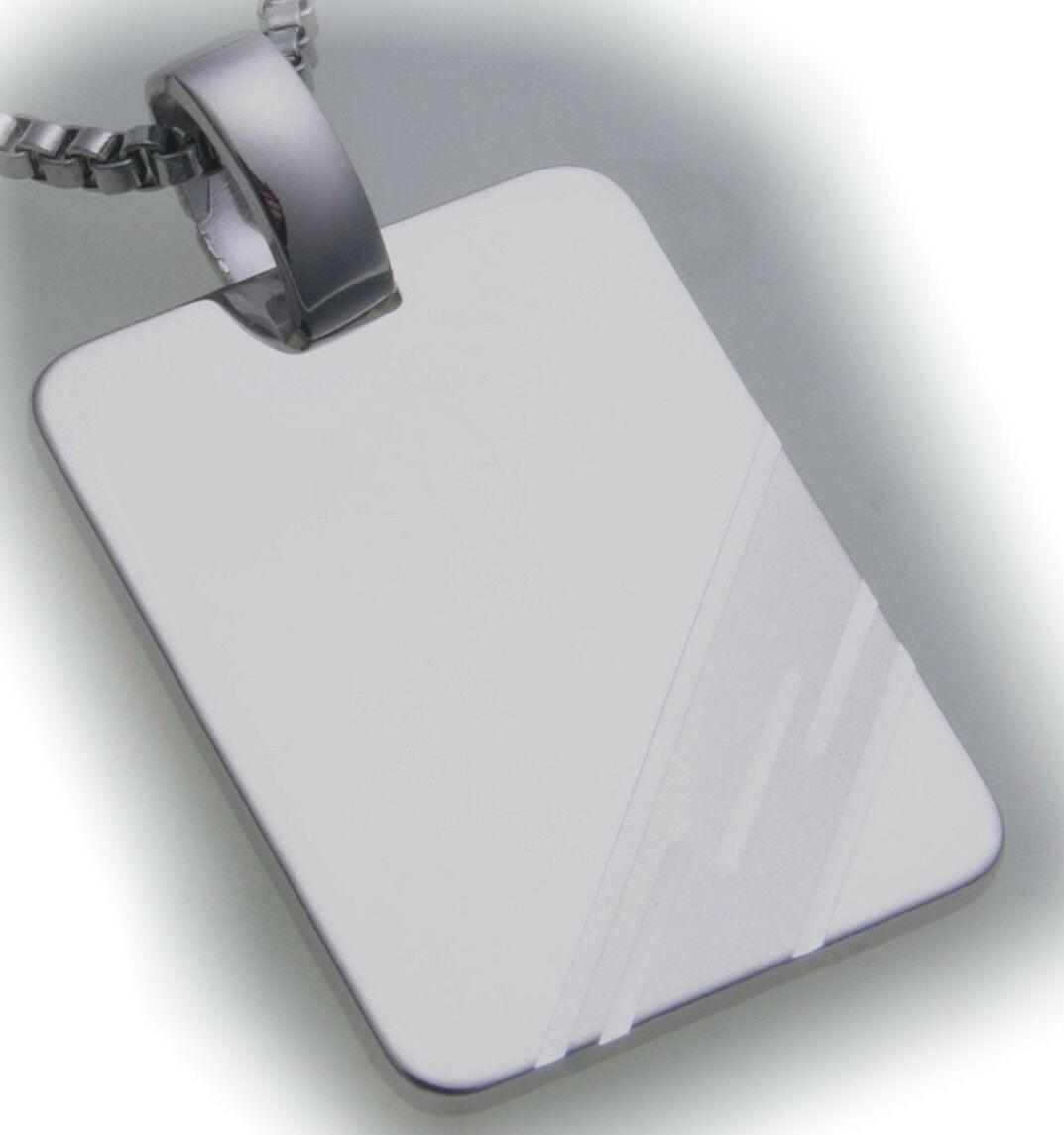 Gravurplatte Rechteck Silber 925 incl. Gravur Neu Sterlingsilber Qualität Unisex