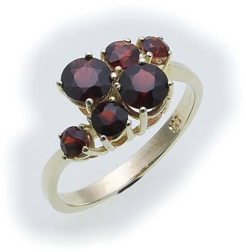 Damen Ring m. Granat in Gold 585 Gelbgold Granatring alle Weiten 8289/5GR