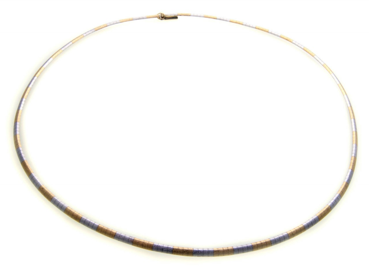 exklusives Collier echt Gold 585 Bicolor mattiert 14kt Halsreif Damen Gelbgold