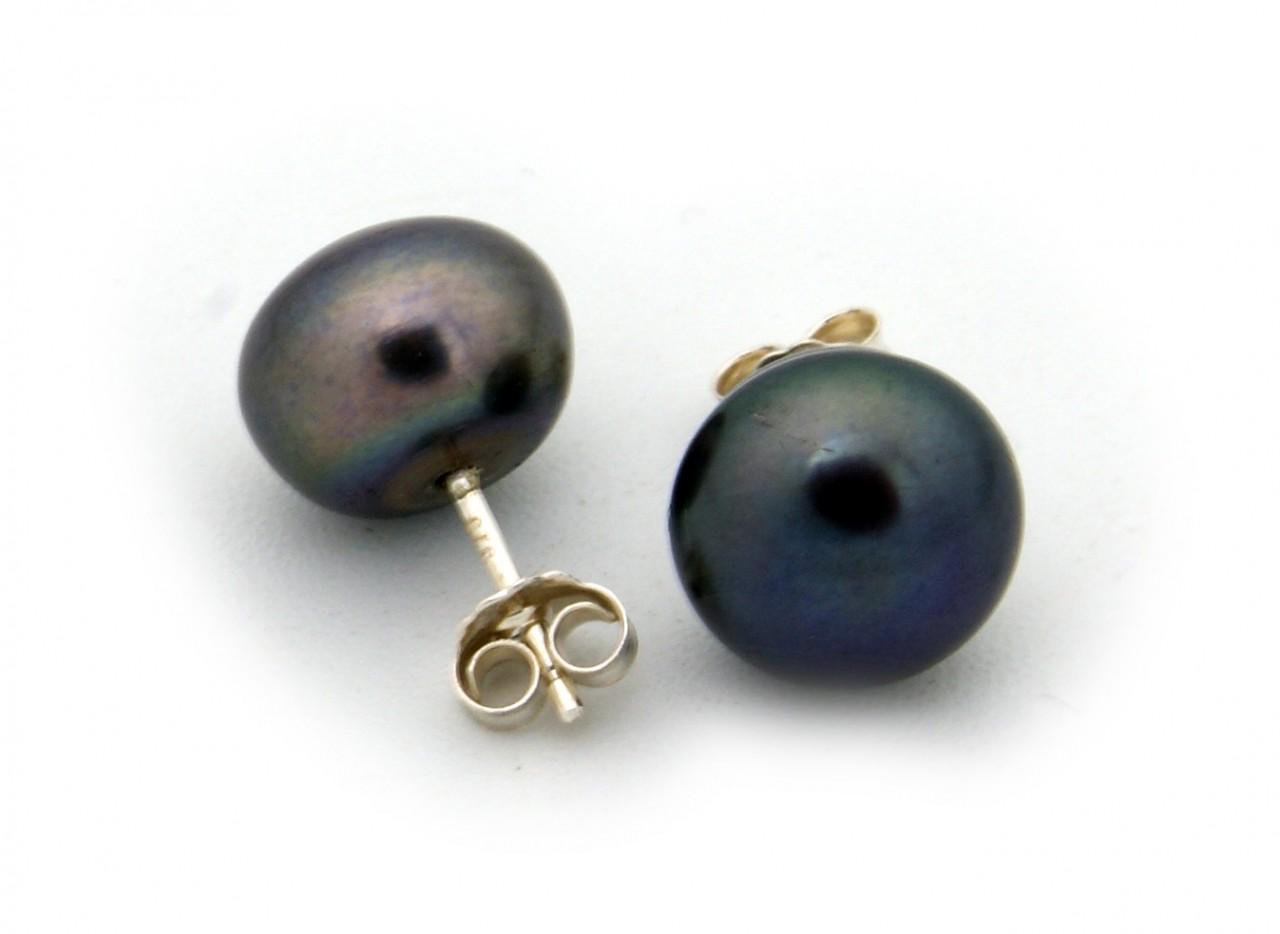 Neu Ohrringe Stecker Zuchtperlen grau schwarz 7 mm echt Silber 925 Perlen