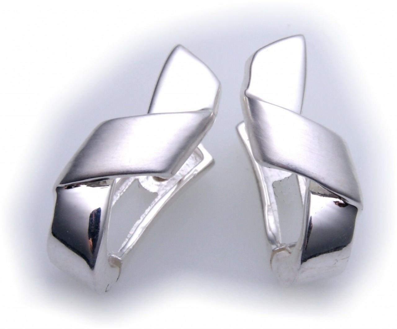 exkl. Ohrringe Creolen echt Silber 925 teilmatt Qualität Sterlingsilber Damen