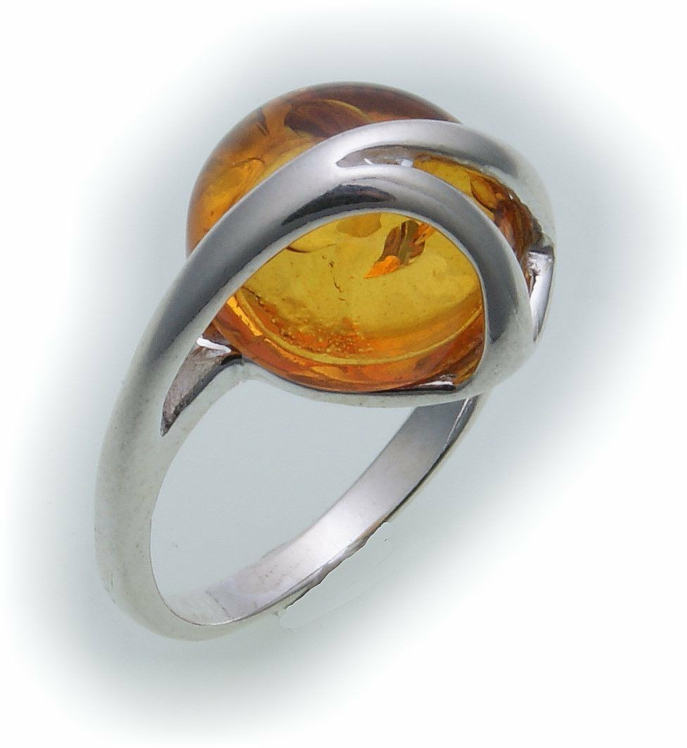 Damen Ring echt Bernstein aus der Ostsee echt Silber 925 Sterlingsilber AB38
