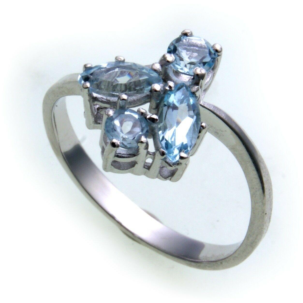 Damen Ring m. echt Topas in Weißgold 333 er- Gold Blautopas Qualität N8303TO