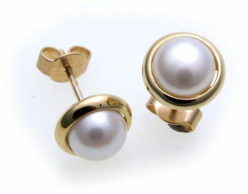 Damen Ohrringe Stecker echt Zuchtperlen 7 mm Gold 585 Gelbgold Perlen Ohrstecker