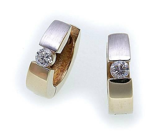 Damen Ohrringe Klapp Creolen Gold 585 mit Zirkonia 12 mm Gelbgold Qualität