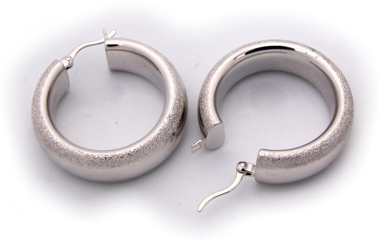 Ohrringe Klapp Creolen echt Silber 925 Sterlingsilber diamantiert 28 mm