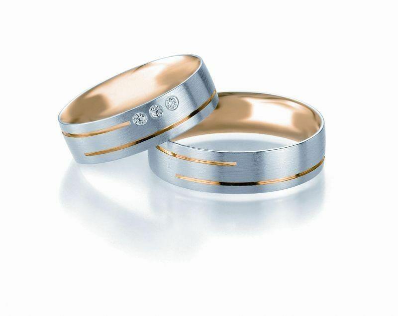 Trauringe Breuning Design Collection 5213/5214 in 585 Gold Bicolor 14 kt
