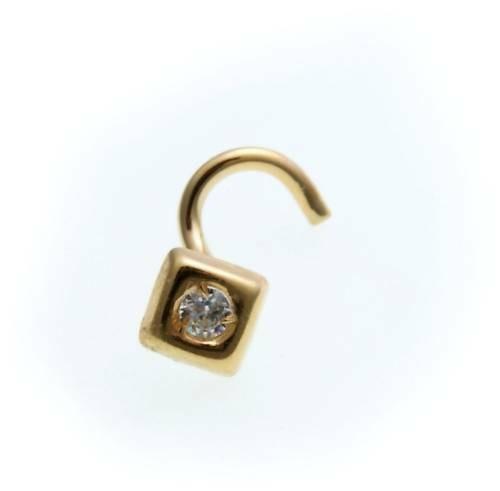 Piercing Nase echt Gold 750 Zirkonia Nasenstecker Gelbgold