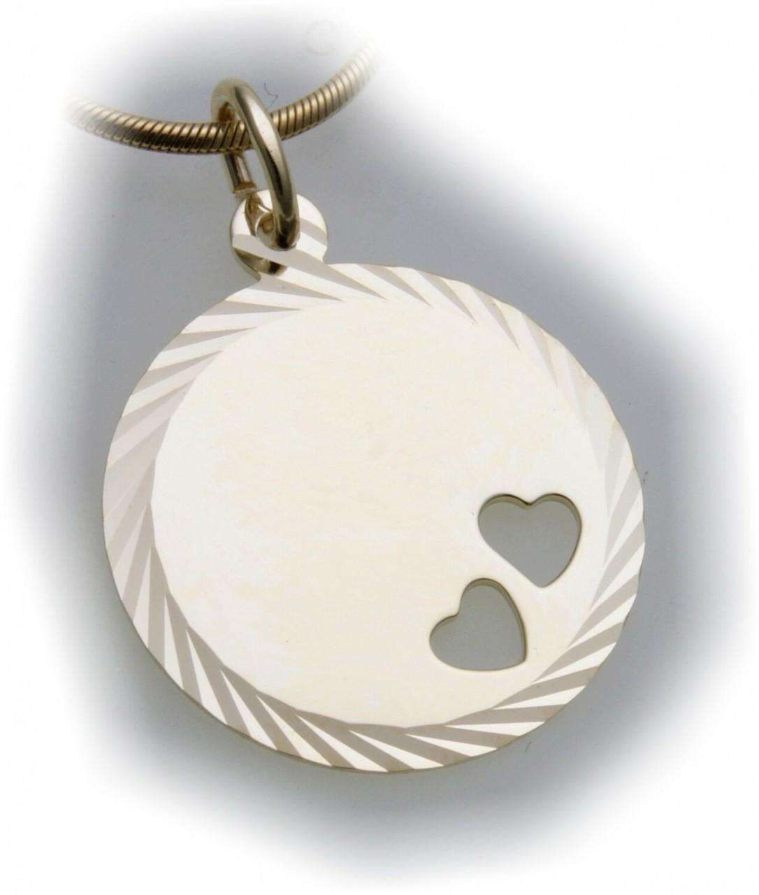 Anhänger Gravurplatte Herz echt Gold 333 Gelbgold Unisex Herzen mit Gravur