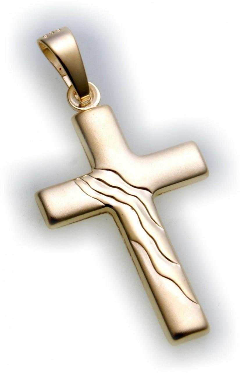 Anhänger Kreuz mattiert echt Gold 585 28 mm günstig 14kt Gelbgold Unisex